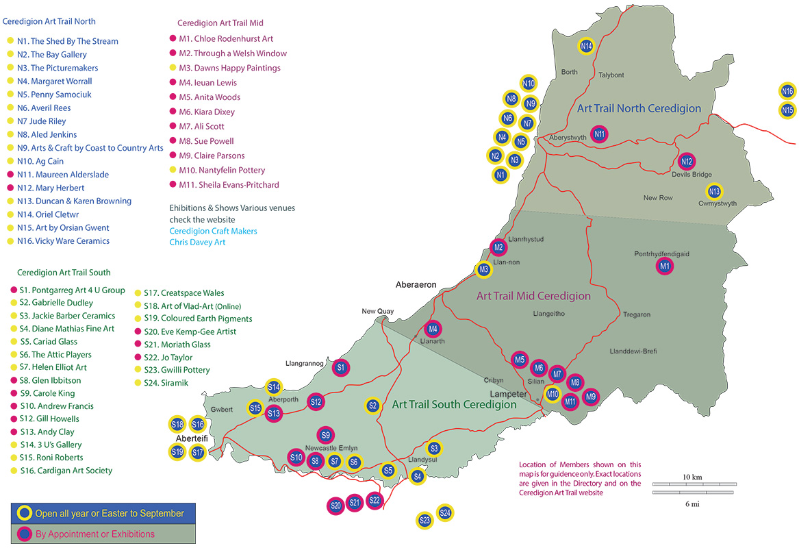 Ceredigion Art Trail Map 2019