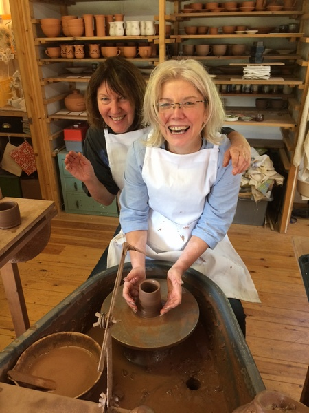 Lynne and Rhian enjoying some Pottery time