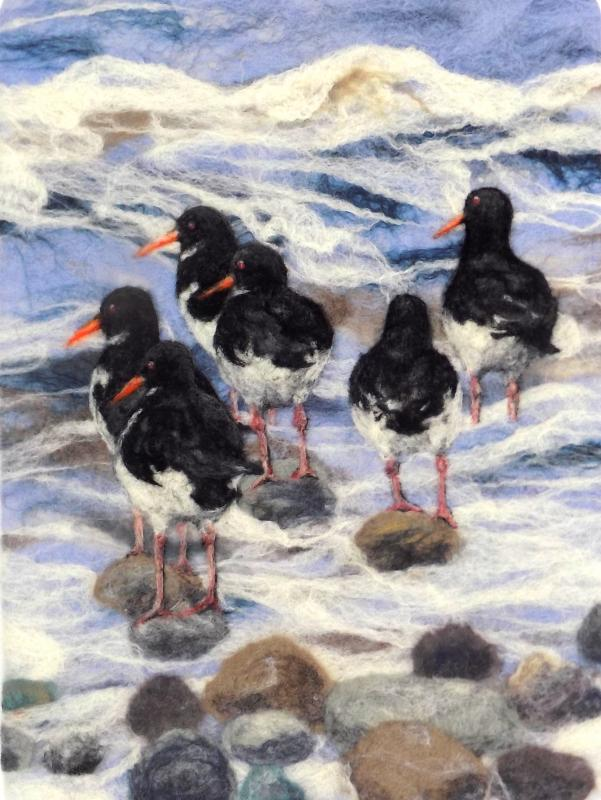 Oystercatchers in the Surf
