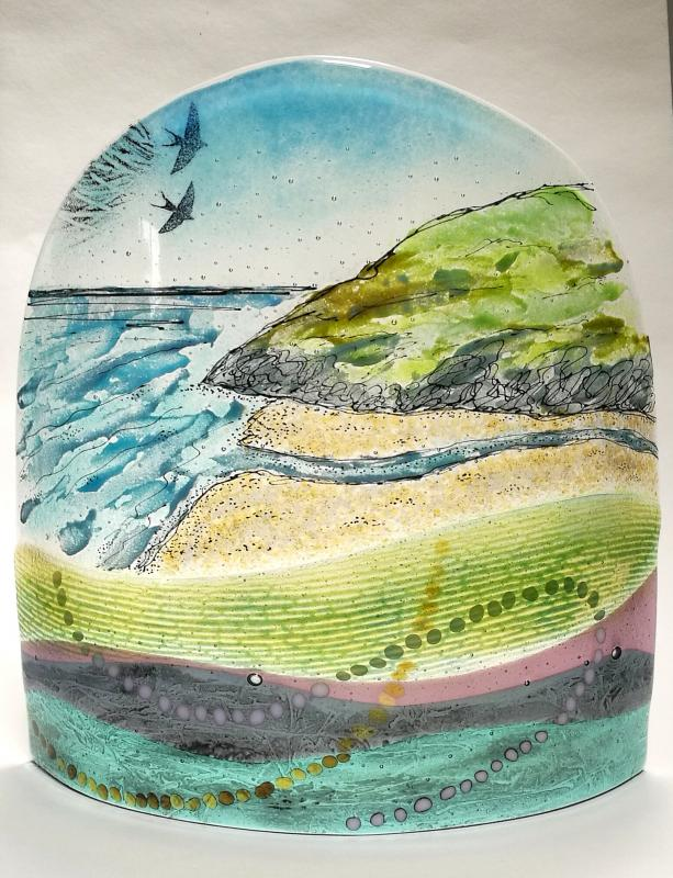 fused glass landscape panel