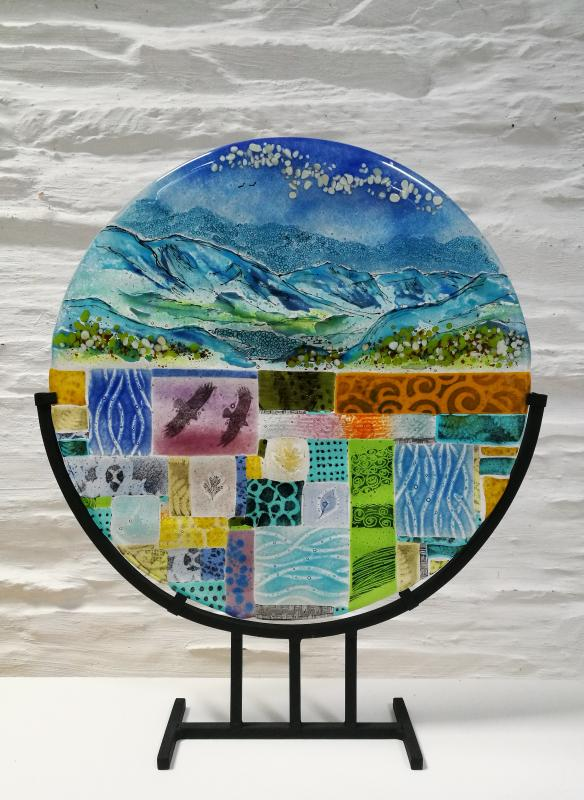 fused glass landscape roundel