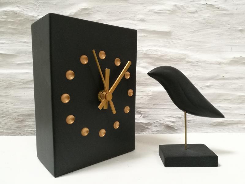 slate clock and bird