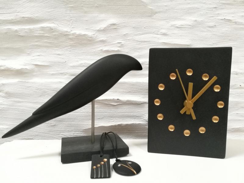 slate bird, pendants and clock
