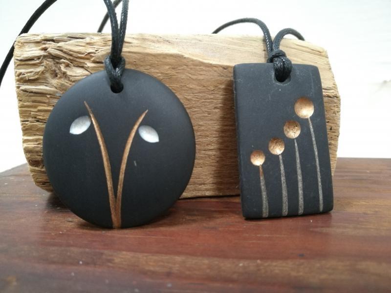 slate flower pendants