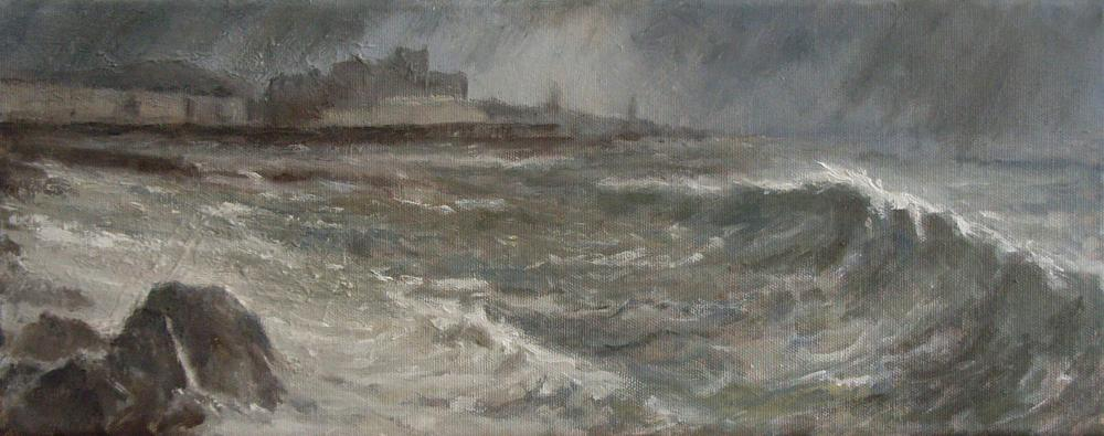 NORTH BEACH, STORMY  WEATHER, Oil on canvas, 24 x 54 cm