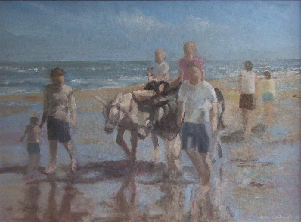 SEASIDE SUMMER, Oil on board, 34 x 44 cm approx.