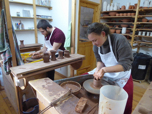 Nell & George in thier own pottery throwdown competition