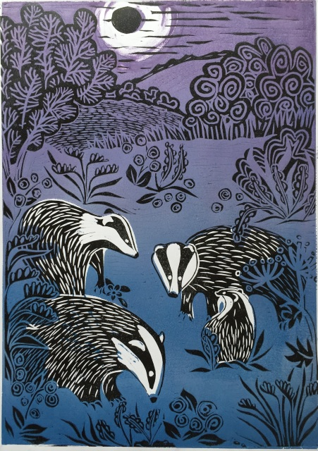 Badgers by Moonlight (Lino)