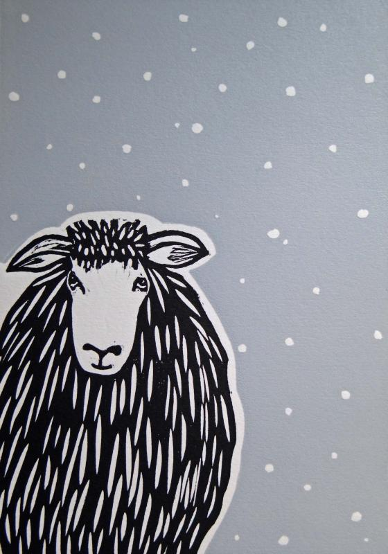 Elsie in the Snow (Lino)