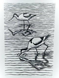 Wading Avocetslino-cut print