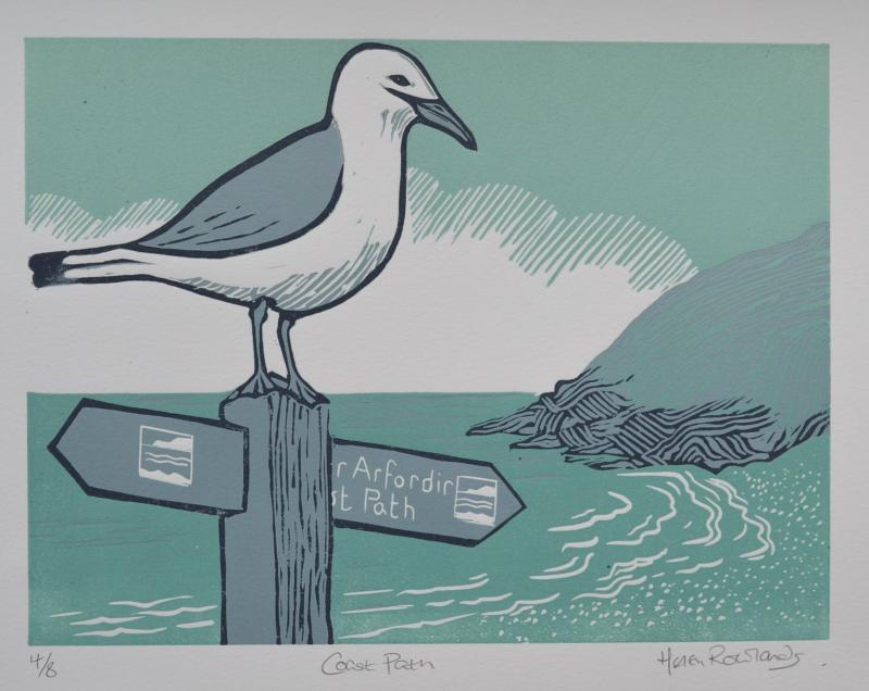 Coast Path               lino-cut print