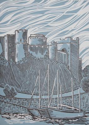 Moored at Pembroke Poollino-cut print