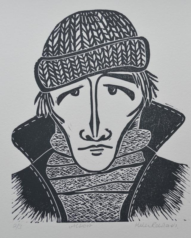 Albert       lino-cut print