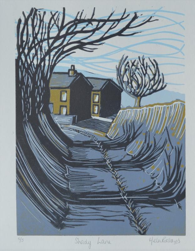 Shady Lane                   lino-cut print