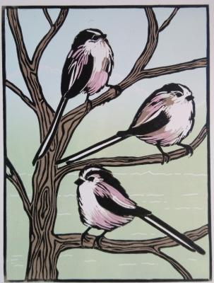 Long tailed titslino-cut print