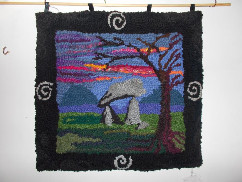 Standing Stones wall-hanging hooked from recycled woollens £160