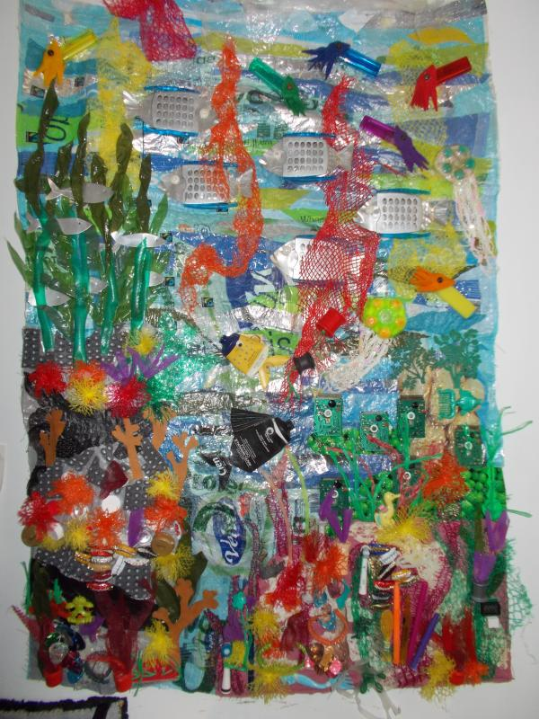 Plastic Ocean 2 wall-hanging made from plastic rubbish £200
