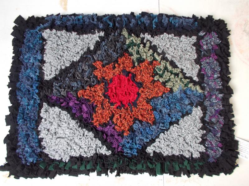 Woollen prodded rag rug £95