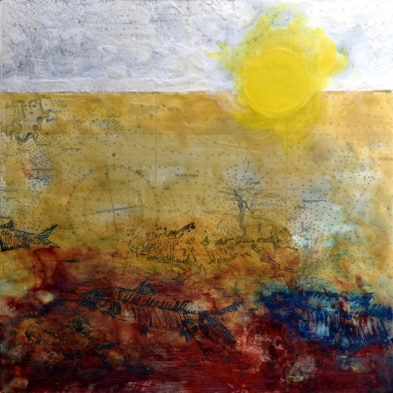 Event Horizon | 2019 | Collage, encaustic wax & oil colour on board | 600 x 600 mm | £850