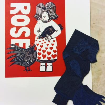 Rose (Limited edition reduction lino print)